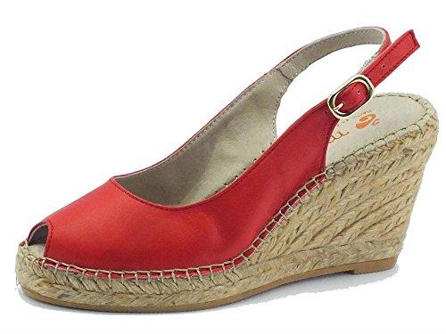 Sandali Macarena per donna in pelle colore rosso zeppa alta in corda (Taglia 39)