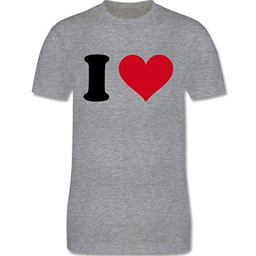 I love - I Love Motiv - Herren Premium T-Shirt Grau Meliert