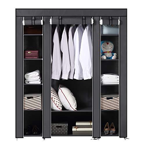 Brian & dany armadio cabina guardaroba in tessuto non tessuto, 3 ante richiudibile con cerniera, 175 x 150 x 45 cm, grigio