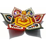 Handcrafted Decorative Diwali Rangoli Set – Multicolor Jewel Stone/ Kundan Decorations On Red, Yellow And Green Acrylic Base With Lord Ganesha Idol – 8 Piece Set - For Home Décor