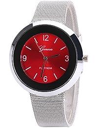 Chocozone Stylish Red Dial Silver Analog Watch For Girls Women Watch