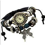 MHOOOA Braccialetto braccialetto Retrò orologi europei e americani da donna guardare moda fai da te selvaggia grande farfalla decorazione in stile tribunale