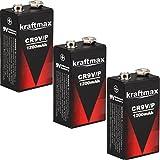 3x Kraftmax 9V Block Lithium Hochleistungs- Batterien für Rauchmelder / Feuermelder - 10 Jahre Batterie Lebensdauer
