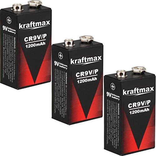 kraftmax 3X 9V Block Lithium Hochleistungs- Batterien für Rauchmelder/Feuermelder - 10 Jahre Batterie Lebensdauer