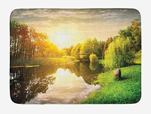Landscape Bath Mat, Sunset Over Calm River Grass Willow Trees Grass Rocks Reflection Clouds, Plush Bathroom Decor Mat with Non Slip Backing, 23.6 W X 15.7 W Inches, Green Blue White (Willow Health Tree Good)