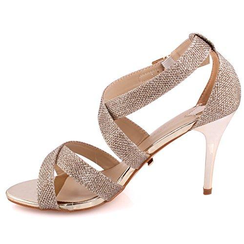 Unze Frauen Bombshell 'Glittery Strappy Mid Low High Heel Party Prom Holen Sie sich zusammen Karneval Abend Hochzeit Sandalen Fersen Schuhe Uk Größe 3-8 - 18F9885-10 Gold