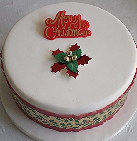 Traditional Christmas Cake Halskrause rot mit Holly Blatt und Berry