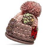 CASPAR MU131 Damen Patchwork Bommelmütze, Farbe:rosa;Größe:One Size