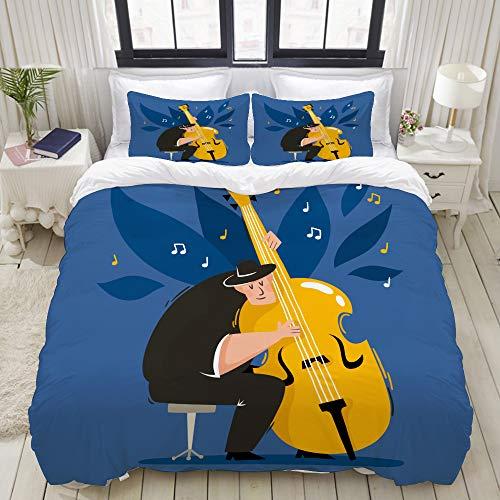 Bettlaken Aus Kostüm - LONYCI Bettwäsche Set, Mikrofaser,Modern,europäische männliche Musiker schwarz Kostüm Holding, 1 Bettbezug 240 x 260cm + 2 Kopfkissenbezug 80x80cm