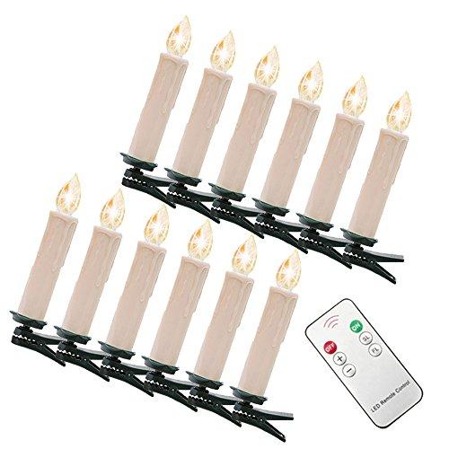 MYHOO 40er Kabellos Weinachten LED Kerzen Weihnachtsbeleuchtung Lichterkette Kerzen Weihnachtskerzen Weihnachtsbaum Kerzen mit Fernbedienung Warmweiß [Energieklasse A++]