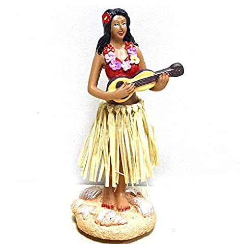 Hula Girl,SMYER Posing Mini Dashboard Doll Raffia Skirt Playing Ukulele Hawaiian Gifts for Decoration 4.5