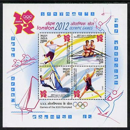 India 2012 London Olympics perf m/s 4 values u/m OLYMPICS HANDBALL ROWING SURFING SQUASH JandRStamps (103312)