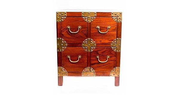 Table de chevet chinois meubles tiroir de petite table de chevet Armoire  Marron avec 4 tiroirs en cuivre Accents Oriental asiatique Salon Chambre à  coucher ... 897178f4d9ef