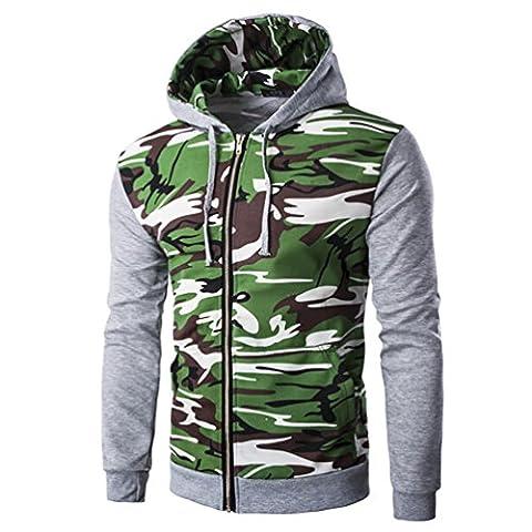 YOUJIA Sweat Shirt Veste a Capuche Zippée Hoodie Camouflage Sweat Sport à Capuche Zippé Personnalisé Sweatshirt Hoodies Outwear Homme Gris Clair