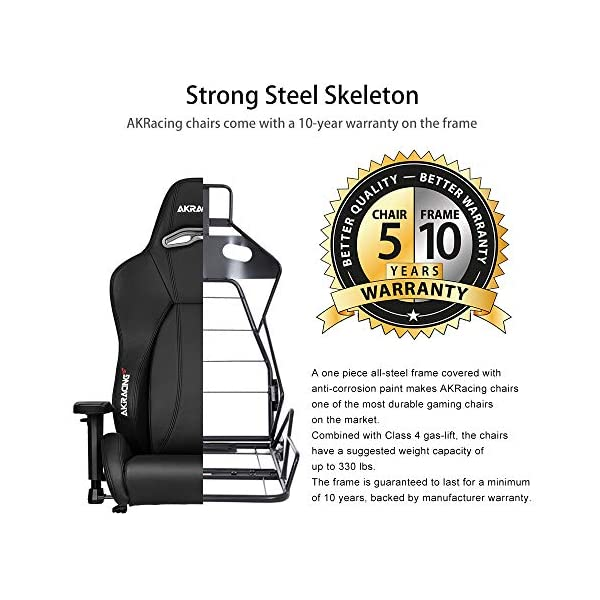 AKRacing Master Premium Silla para videojuegos de PC Asiento acolchado – Sillas para videojuegos (Silla para videojuegos de PC, 150 kg, Asiento acolchado, Respaldo acolchado, Aluminio, Negro)