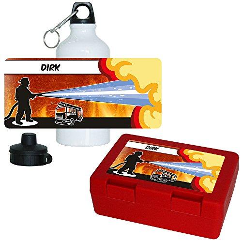 Eurofoto Brotdose + Trinkflasche Set mit Namen Dirk und Feuerwehr-Motiv für Jungs | Aluminium-Trinkflasche | Lunchbox | Vesper-Box