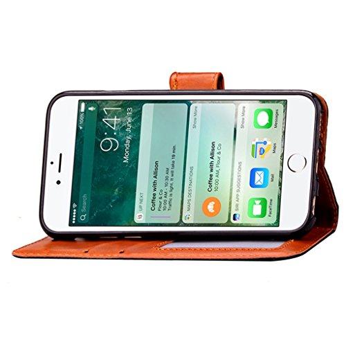 """Trumpshop Smartphone Case Coque Housse Etui de Protection pour Apple iPhone 7 Plus 5.5"""" (Série Rivets) + Rouge + Ultra Mince Smarphonetcoque Portefeuille PU Cuir Avec Fonction Support Anti-Choc Anti-R Noir"""