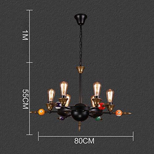 Billard-licht (Pendelleuchte Industrie Vintage E27 Metall Hängelampe Persönlichkeit Kreative Billard Kunst Dekoration Kronleuchter für Restaurant Wohnzimmer Billard Loft Cafe Bar, 6 Licht)