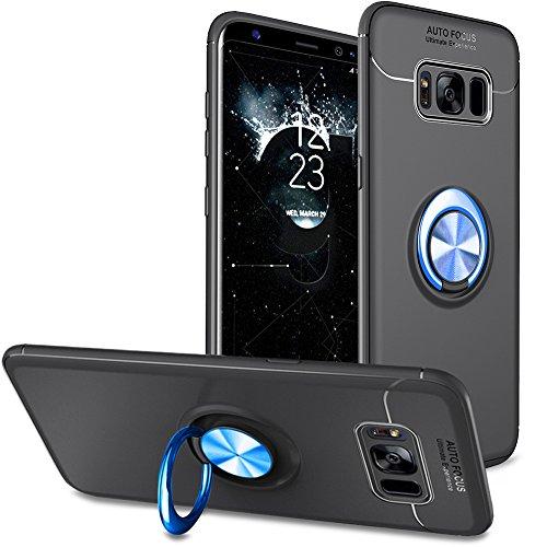 BtDuck Galaxy S8 Plus Hülle mit Ring,Ultra Slim Matt Dünn Silikon Hülle mit Metall Ring Handyhalterung Auto Magnet Ständer Bumper Case Ringhalter Hülle für Samusng Galaxy S8 Plus Schwarz-Blau