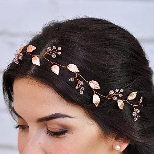 Kercisbeauty - Haarschmuck für Braut oder Brautjungfer, hübsches Haarband mit Blättern und Kristallperlen, inklusive Band, für Hochzeit, Abschlussball, Bankette und Bälle