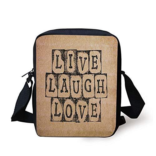 Live Laugh Love Decor,Black Alphabet Stamps on Aged Grungy Backdrop Vintage Print Decorative,Black Light Brown Print Kids Crossbody Messenger Bag Purse -