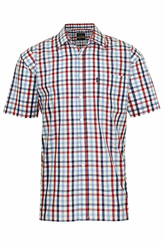 Champion Country Style Karo Herren Hemd Short Sleeve Casual Baumwoll-Polyester-Mischgewebe Rot - Red Check