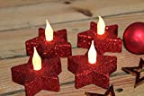 Kamaca Lot de 4 Bougies Chauffe-Plat à LED Motif étoiles