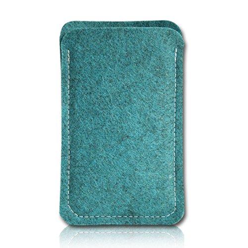 Filz Style Apple iPhone 6 / 6S Premium Filz Handy Tasche Hülle Etui passgenau für Apple iPhone 6 / 6S - Farbe rosa türkis-schwarz
