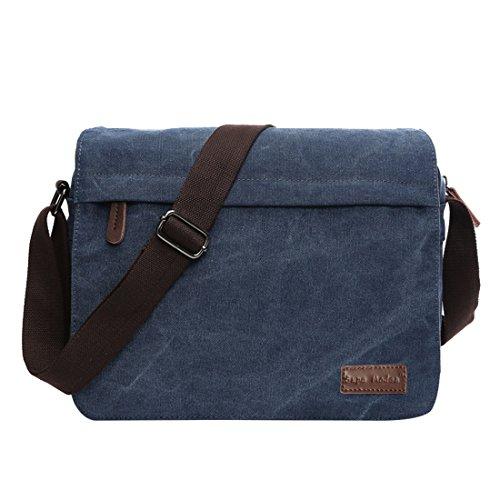 Super Modern Umhängetasche, Laptop-Tasche, Computer-Tasche, aus Segeltuch, für Männer und Frauen, Herren, Blue Large