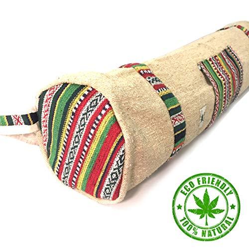 Yogatasche 100% Bio Hanf - Handgefertigt - Mysore - Fair & Ökologisch - ideal für Yogamatten & Yoga-Zubehör - Reißverschluss, Verstellbarer Riemen, Tasche (Natürlich) -