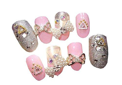 Faux Ongles Faux diamant rose décoré avec gomme 24Pcs
