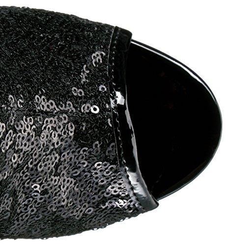 Pleaser DELIGHT-1008SQ Blk Sequins/Dark Pewter Chrome
