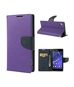 MAXLIVE NOKIA 630 WALLET FLIP BACK CASE COVER (PURPLE)