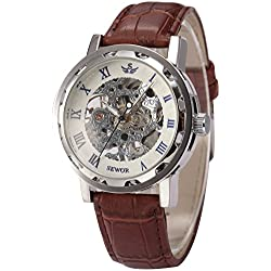 AMPM24 Men's Roman Skeleton Hand-winding Mechanical Brown Leather Band Wrist Watch + AMPM24 Gift Box PMW301