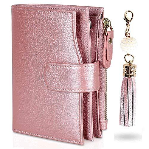 Befen Damen-Geldbörse, RFID-Block, hochwertig, echtes Vollnarbenleder, Bifold- und Trifold-Design, viele Kartenfächer (RFID-Geldbörse 03) - Kleine Tri-fold