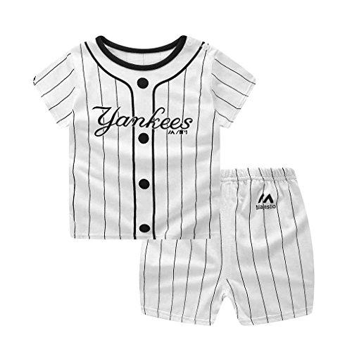 Masterein 2ST Junge Baby Mädchen Cartoon Top Kurze Hosen Baumwolle Kurzarm-T-Shirt Outfits Set Baseball 90cm (Junge Baseball-hose)