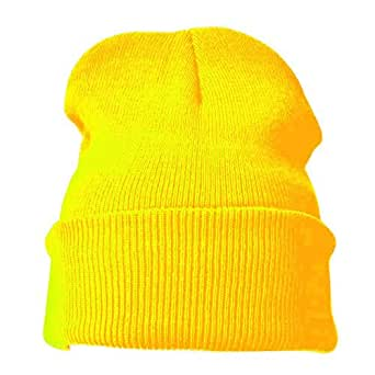 Jazooli Mens Ladies Womans Knitted Warm Winter Ski Plain Beanie Beenie Woolly Hat Cap - Yellow