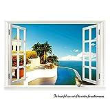 Zhide 3D-Wandbild Geöffnetes Fenster mit Meerblick Wandtattoo Wandaufkleber MC-023 (68*48cm/26.77 * 18.9 inch)