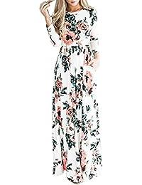 YMING Femme Robe de Plage Bohême Loose Tunique Longue Fleur imprimé Robe Maxi