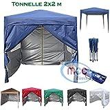 Mcc@home Gazébo/kioske/pavillon/tente/tonnelle/auvent/abri de jardin pliable résistant à l'eau, 2x2m, couleur bleue avec couche protectrice argentée