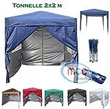 mcc direct Gazébo/Pavillon/Tente/Tonnelle/Auvent Pliable et résistant à l'Eau, 2x2m, avec Couche protectrice argentée (Bleu)