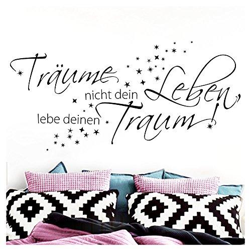 Grandora W1102 Wandtattoo Träume nicht dein Leben I schwarz 120 x 47 cm I Spruch Schlafzimmer...