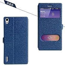 Prevoa ® 丨Original S View Funda Carcasa Flip Leather Case Cover Para Huawei Ascend P7 - Azul