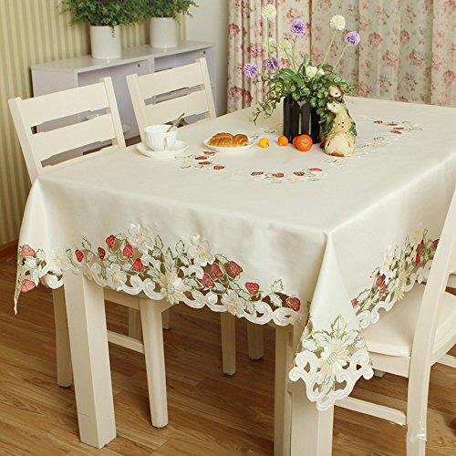 Imperméable nappe Maillot de broderie de mode Maillot pastoral simple Tissu table table basse (taille facultative) (fraise rouge) pour dîner ( taille : 60*60cm )