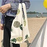 MIMOO Einfache Einkaufstasche Freizeittasche Weibliche Ananas-Segeltuch-Umhängetasche-einfache helle Einkaufsreise-Strand-Schwimmen-Handtasche