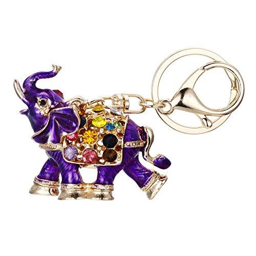 Ever Faith Mujer Llavero Forma de Animal Elefante con Rhinestone Violeta en su Espalda para Novia Amiga Niña