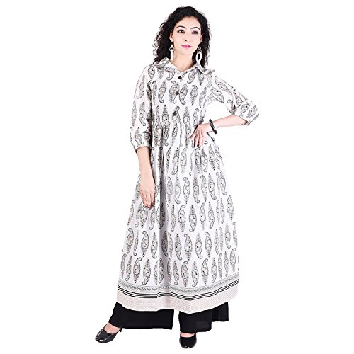 Gaurangi Exclusive Designer Collection Of Indo-Western Paisely Printed Cotton Ethnic Anarkali Long Kurta With...