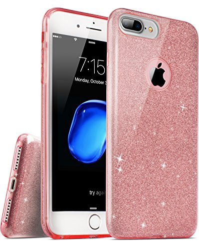 iPhone 7 Plus iPhone 8 Plus Case, TOZO® SHINY Series [Bling Crystal] Ultra Thin Sparkle Premium 3 Layer Hybrid Semi-transparent Lightweight / Exact Fit / Soft Case for iPhone 7 Plus iPhone 8 Plus 5.5 Shiny Pink