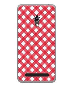 PrintVisa Designer Back Case Cover for Asus Zenfone 6 A600CG (Red And White Checks Design)