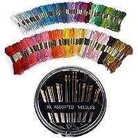 Juego de hilos de bordado y punto de cruz D&R, 100 madejas de colores para